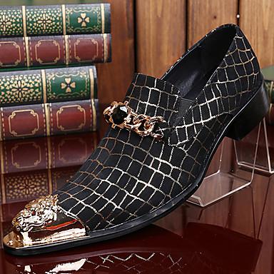 halpa Miesten kengät-Miesten Muodolliset kengät Nappanahka Syksy / Talvi Vintage Oxford-kengät Musta / Juhlat