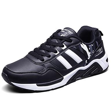 Férfi cipő PU Tavasz Ősz Kényelmes Sportcipők Gyalogló Fűző mert Sport Fekete/fehér Fekete/Vörös Fekete/Kék