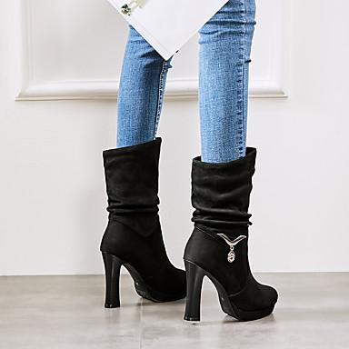 06232002 Cuir Violet Noir Chaussures Automne rond Vert Confort Nubuck Femme Talon Bottier Bottes Hiver Bout w6qB1p