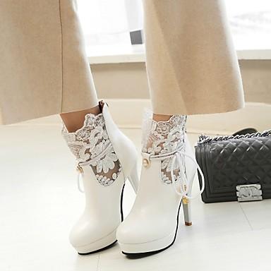 la Mode Dentelle Bride 06234696 Aiguille Demi Cheville Printemps Bottes Bottine de Similicuir Femme Chaussures Bottes Talon à pointu Automne Bout XHA5PPvn