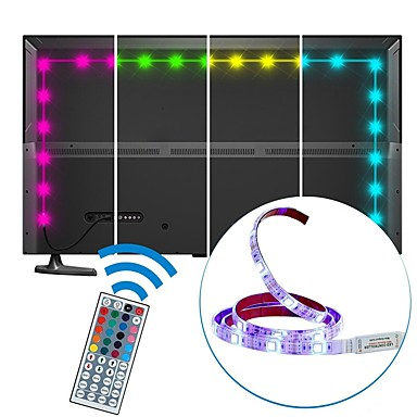 2m RGB Strip Lights 60 LEDs 5050 SMD 1 44Keys Remote Controller RGB Cuttable / USB / Waterproof 5 V 1set / IP65 / Linkable / Self-adhesive