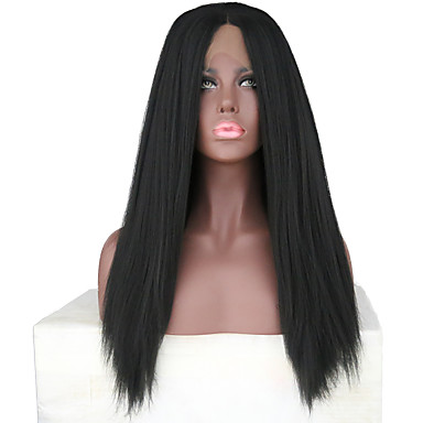 Synthetic Lace Front Wig Yaki Synthetic Hair Natural Hairline / Middle Part Black Wig Women's Long Lace Front Natural Black