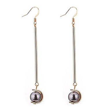 Women's Long Drop Earrings - Imitation Pearl, Black Pearl Simple Style White / Gray / Coffee For Party / Daily