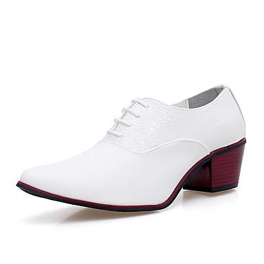 Férfi cipő Bőr Tavasz Ősz Formai cipő Kényelmes Félcipők Fűző mert Hivatal és karrier Party és Estélyi Fehér Fekete