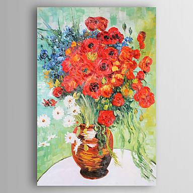 Hang festett olajfestmény Kézzel festett - Virágos / Botanikus Kortárs Vászon