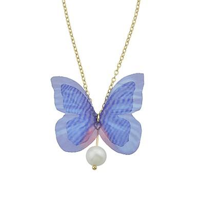 Női Rövid nyakláncok - Gyöngyutánzat Pillangó Divat, aranyos stílus Rózsaszín, Világoskék Nyakláncok Ékszerek Kompatibilitás Hétköznapi, Alkalmi