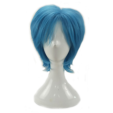 Synthetic Wig / Cosplay & Costume Wigs Curly Layered Haircut Synthetic Hair Middle Part Blue Wig Men's Short Capless