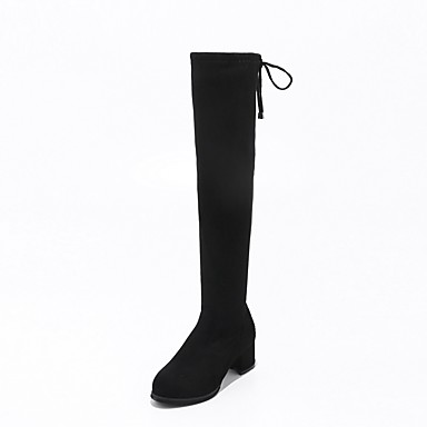 Women's Shoes Fleece Fall / Winter Riding Boots / Fashion Boots Boots Chunky Heel Round Toe Knee High Boots Lace-up Black / Wedding / Party & Evening