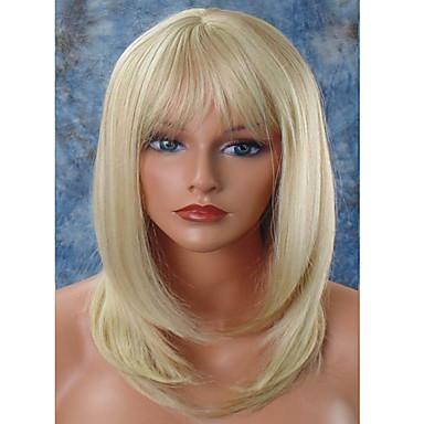 Szintetikus parókák Egyenes Réteges frizura Bretonnal Természetes hajszálvonal Sűrűség Sapka nélküli Női Szőke Halloween paróka Híres