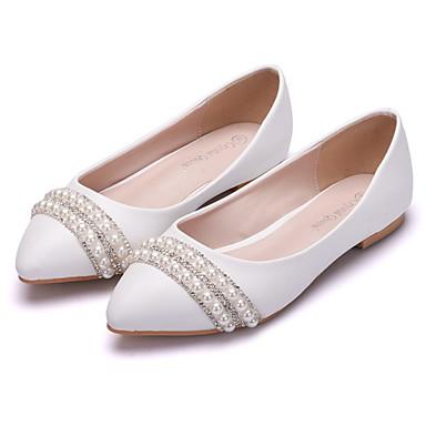 Női Cipő PU Tavasz / Ősz Kényelmes / Újdonság Lapos Lapos Erősített lábujj Strasszkő / Gyöngy / Virág Fehér / Esküvő / Party és Estélyi