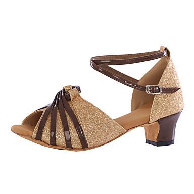 Women's Paillette Heel Low Heel Customizable Dance Shoes Gold / Indoor