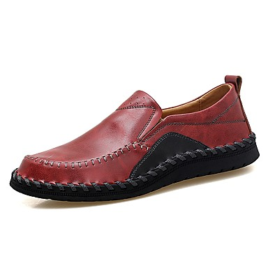Men's Leatherette Fall / Winter Comfort Loafers & Slip-Ons Black / Brown / Wine