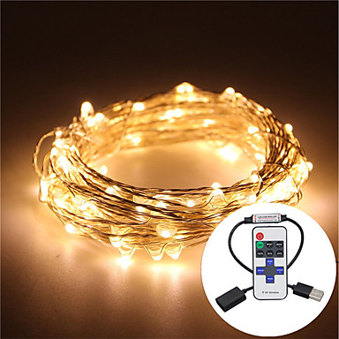 5m String Lights 100 LEDs Warm White / RGB / White Remote Control / RC / Dimmable / Waterproof <5 V / IP65 / Color-Changing