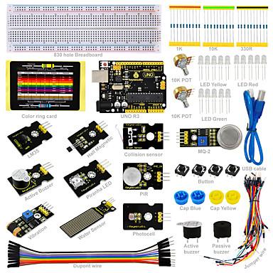 keyestudio érzékelő kit- k2 arduino indító készlethez kompatibilis arduino uno r3 lm35 mq-2pir mozgás / 29 itemfree szállítás