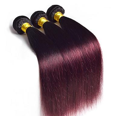 baratos Extensões de Cabelo Natural-3 pacotes Cabelo Malaio Liso Cabelo Virgem Âmbar Âmbar Tramas de cabelo humano Extensões de cabelo humano / Reto