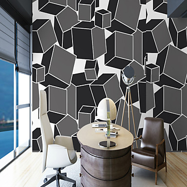3D Special Design Geometry Home Decoration Simple Style Modern/Contemporary Wall Covering, Canvas Material Adhesive required Mural, Room