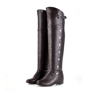 Bout Talon 06198994 Hiver Bas Femme Bottes rond Similicuir Marron la Automne Blanc Chaussures Mode à Bottes Noir Cuissarde qFPxHfFS