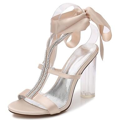 voordelige Damessandalen-Dames Sandalen Inrijgen Blokhak Ronde Teen Strass / Strik / Sprankelend glitter Satijn T-band / Basispump / Enkelband Lente / Zomer Zwart / Licht Grijs / Wit / Bruiloft / transparant Shoes