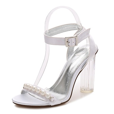 Women's Shoes Satin Spring / Summer Basic Pump / Ankle Strap / Transparent Shoes Wedding Shoes Chunky Heel / Translucent Heel / Crystal