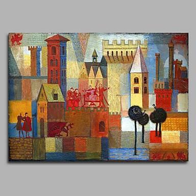 Hang festett olajfestmény Kézzel festett - Absztrakt Modern / kortárs Vászon / Nyújtott vászon