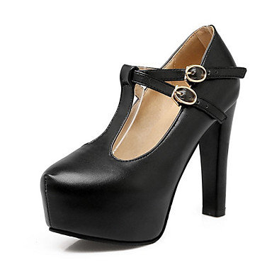 Women's Shoes PU(Polyurethane) Spring / Fall Comfort / Novelty Heels Chunky Heel Pointed Toe Buckle White / Black / Pink / Wedding