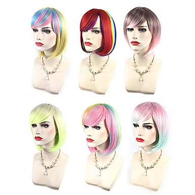 Synthetic Wig / Cosplay & Costume Wigs Wavy Pink Bob Haircut / With Bangs Synthetic Hair Highlighted / Balayage Hair / Side Part Red / Blue / Pink Wig Women's Short Capless