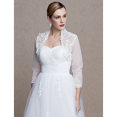 Lace / Tulle Wedding / Party / Evening Women's Wrap With Appliques / Lace Shrugs
