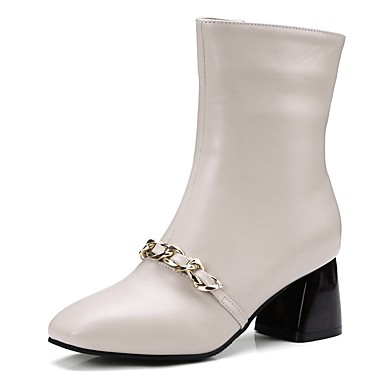 Women's Shoes Patent Leather Spring Fall Comfort Novelty Boots Square Toe Mid-Calf Boots Zipper Chain for Wedding Dress Black Beige Green