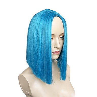 Synthetic Wig Straight Layered Haircut Synthetic Hair Side Part Blue Wig Women's Short Capless Blue