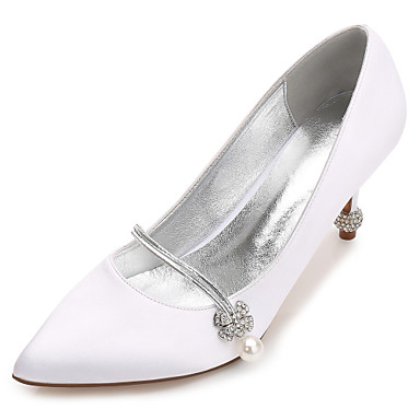 cheap Wedding Shoes-Women's Shoes Satin Spring / Summer Comfort / Basic Pump / Ankle Strap Wedding Shoes Kitten Heel / Cone Heel / Low Heel Pointed Toe
