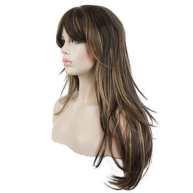 Szintetikus parókák Egyenes Réteges frizura Szintetikus haj Balayage haj Barna Paróka Női Hosszú Sapka nélküli