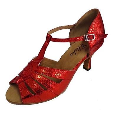 Női Latin cipők Szintetikus Szandál Személyre szabott sarok Dance Shoes Fekete és arany / Forgásc / Piros / Otthoni