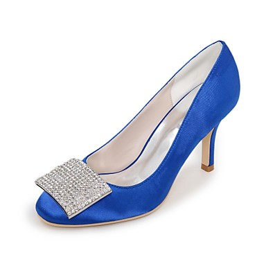 carré Bout Chaussures Printemps Bleu Talon Ivoire Satin Chaussures Eté Strass Basique mariage Aiguille de 06198717 Escarpin Champagne Femme RP1pUx
