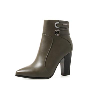 Női Cipő PU Tél Ősz Közepesen magas szárú bakancs Kényelmes Divatos csizmák Csizmák Tűsarok Erősített lábujj Cipzár Kombinált mert Ruha