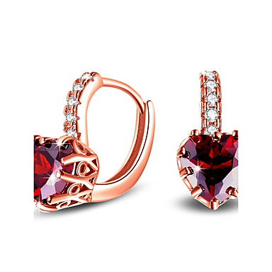 Women's AAA Cubic Zirconia Stud Earrings - Sterling Silver, Cubic Zirconia Heart Dainty, Simple Style, Fashion Red / Blue / Rose Gold For Daily / Office & Career