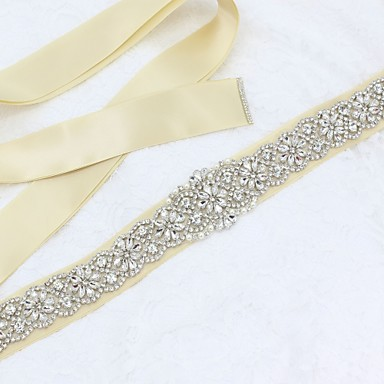Satin / Tulle Wedding / Special Occasion Sash With Rhinestone / Imitation Pearl Sashes