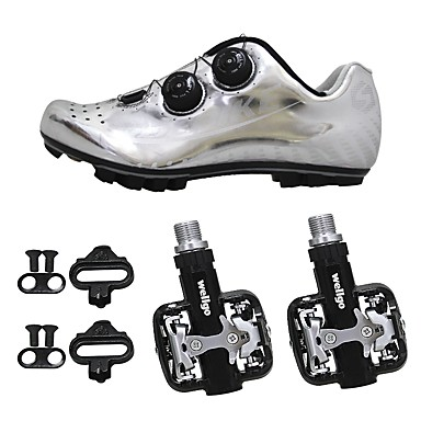 SIDEBIKE Mountain Bike Shoes / Bike Shoes With Pedals Carbon Fiber Anti-Slip, Wearable, Breathability Cycling Black / Silver Men's / Synthetic Microfiber PU