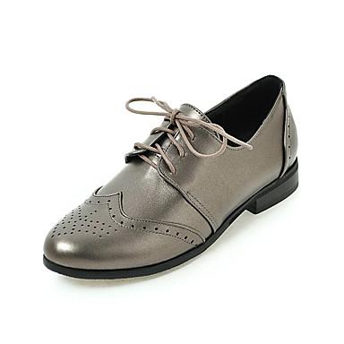 Γυναικεία Παπούτσια Δερματίνη Άνοιξη   Φθινόπωρο Χωρίς Τακούνι Επίπεδο  Τακούνι Στρογγυλή Μύτη Κορδόνια Μαύρο   Μπεζ eb327ccd81d