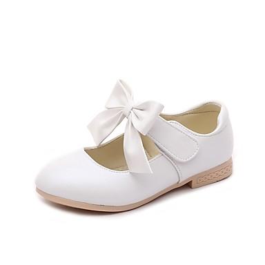 baratos Sapatos de Criança-Para Meninas Courino Rasos Little Kids (4-7 anos) / Big Kids (7 anos +) Conforto / Sapatos para Daminhas de Honra Laço / Velcro Dourado / Branco / Rosa claro Primavera / Festas & Noite