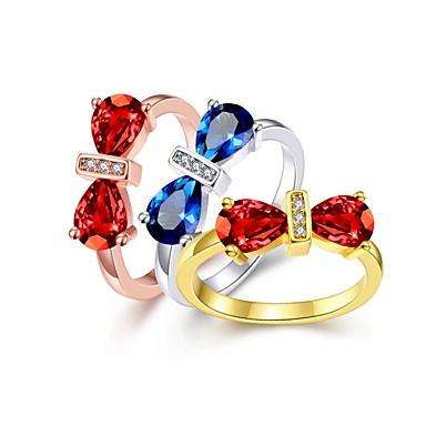 Női Kocka cirkónia Arannyal bevont Bowknot Shape Band Ring - Bowknot Shape Alap / aranyos stílus Arany / Ezüst / Világosbarna Gyűrű
