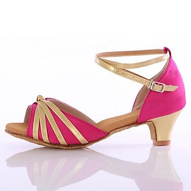 Női Latin cipők Személyre szabott anyagok Magassarkúk Alacsony Személyre szabható Dance Shoes Fukszia / Piros / Kék / Otthoni