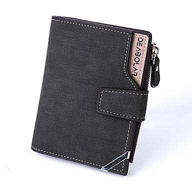 Men's Bags Canvas Coin Purse Buttons Black / Gray / Dark Brown