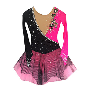Figure Skating Dress Women's Girls' Ice Skating Dress Vivid Pink Spandex Rhinestone Appliques Tulle High Elasticity Performance Skating