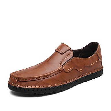 Férfi cipő Nappa Leather Bőr Tavasz Ősz Kényelmes Papucsok & Balerinacipők mert Hétköznapi Party és Estélyi Fekete Világosbarna Sötétbarna