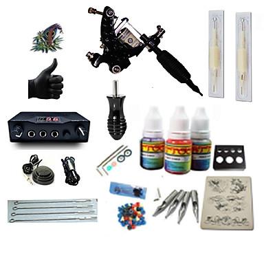 Tetováló gép Kezdő készlet 1 x acél tetoválógép kontúrhoz és satírhoz LCD tápegység 2 x alumínium markolat 2 x eldobható markolat 5 db