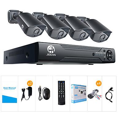 jooan® 2mp ahd biztonsági rendszer 4 x 1080p időjárásálló tvi kamera és 1080n 8 csatornás DVR felvevő
