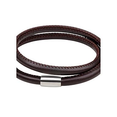 abordables Bracelet-Bracelets en cuir Bracelet Magnétique Homme Femme Magnétique Cuir Style Simple Mode Bracelet Bijoux Noir Marron Forme de Cercle pour Quotidien Sortie