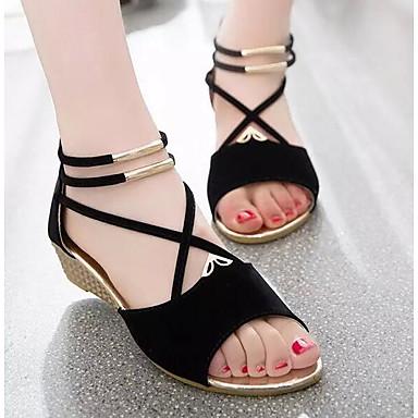 ieftine Pantofi de Damă-Pentru femei Piele nubuc / Piele de Căprioară Primăvară / Vară Confortabili Sandale Toc Platformă Bej / Rosu / Albastru / EU39