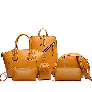 Women's Bags PU(Polyurethane) Bag Set 6 Pieces Purse Set Zipper Black / Blushing Pink / Yellow