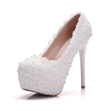 de rond Blanc Printemps Bout Appliques Rose Chaussures Confort Polyuréthane 06318346 Automne Nouveauté Chaussures Femme mariage Perle xq4UvCw0A